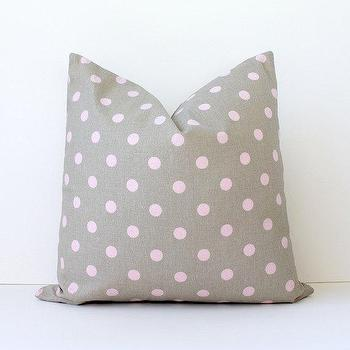 Pillows - Pink Taupe polka dots Pillow by WhitlockandCo I Etsy - taupe and pink polka dot pillow, taupe pillow with pink polka dots, taupe and pink dotted pillow,