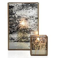 Decor/Accessories - Olivia Hurricane & Votive | Z Gallerie - mercury glass style hurricanes, modern mercury glass style candle holder, silvered glass hurricane, brass and mercury glass style hurricane, silvered glass votive, mercury glass style votive, brass and mercury glass candle votive,