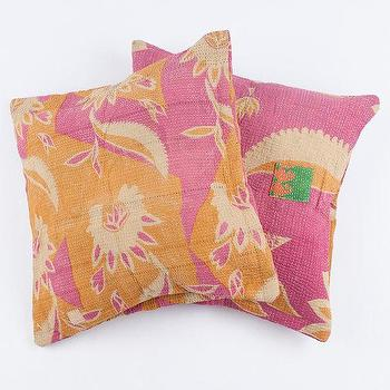 Pillows - 2 Vintage Quilt Pillows by gypsya I Etsy - vintage pink and orange pillow, pink and orange vintage quilt pillow, pink and orange kantha quilt pillow,