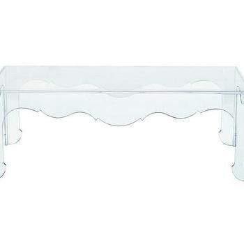 Tables - Bernhardt Acrylic Annalise Cocktail Table I www.shop219.com - acrylic cocktail table, scalloped apron acrylic coffee table, acrylic cocktail table with scalloped apron,