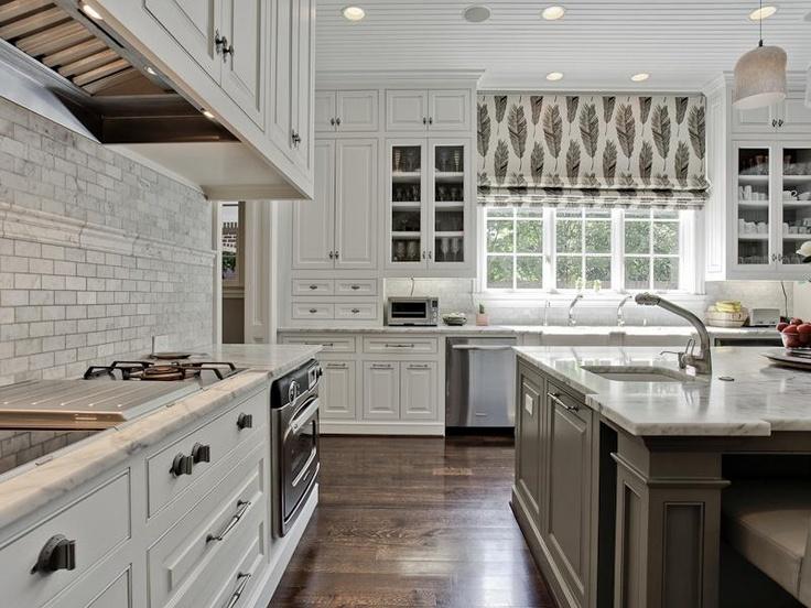 Gray Center Island Transitional Kitchen