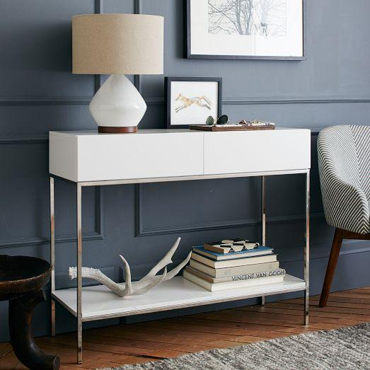 Lacquer storage console west elm for Modern white lacquer console table