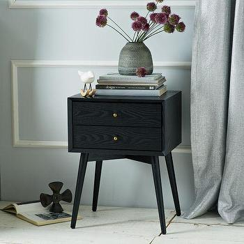 Seating - Mid-Century Nightstand - Black | west elm - black mid-century nightstand, mid-century style nightstand, black nightstand with bronze knobs,