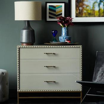 Storage Furniture - Nailhead 3-Drawer Dresser | west elm - gray lacquer 3 drawer dresser, contemporary gray lacquer 3 drawer dresser, gray lacquered dresser with nailhead trim,