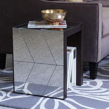 Tables - Herringbone Mirror Side Table | west elm - mirrored side table, foxed finish mirrored side table, chevron mirrored side table, art deco style mirrored side table, herringbone mirrored side table,