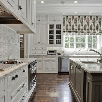 Gray Center Island, Transitional, kitchen