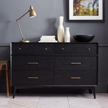 Storage Furniture - Mid-Century 6-Drawer Dresser - Black | west elm - black mid-century style dresser, black dresser with bronze knobs, black 6-drawer mid-century style dresser,
