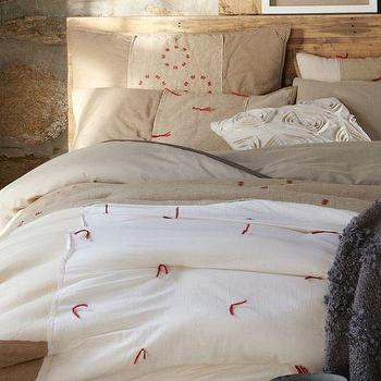 Bedding - Star Trail Comforter + Shams | west elm - white comforter with red detail, white cotton voile and chambray comforter, red and white bedding, red and white comforter,