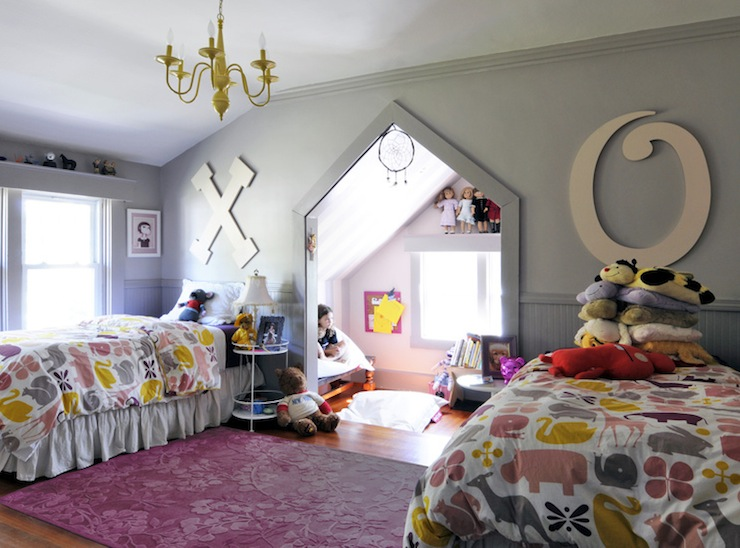 Pink and Gray Girls Room - Contemporary - girl's room - Ore Studios