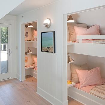 Francesca Owings Interior Design - girl's rooms - kids bunk room, girls bunk room, sleepover room, kids sleepover room, girls sleepover room, bunk beds, built in bunk beds, pink and gray bedding, kids bedding, girls bedding, floating nightstand, floating bedside table, reading lights,