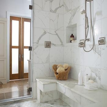 Calcutta Gold Hex Tiles, Transitional, bathroom, Denman Bennett