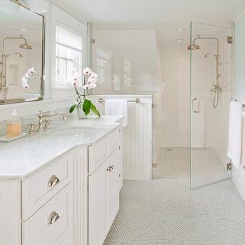 White Penny Tiles with Gray Grout, Transitional, bathroom, D Thomas Scott