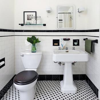 Ore Studios - bathrooms - powder room, black and white powder room, black and white tiles, black and white backsplash, black and white floor, black and white tile floor, pedestal sink, vintage medicine cabinet, toilet seat cover, stained toilet seat cover, black pencil rail, pencil rail, bathroom pencil rail, off white walls,