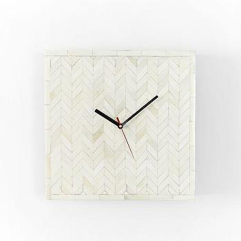 Art/Wall Decor - Parsons Wall Clock - Bone Inlay | west elm - bone inlay wall clock, bone inlaid wall clock, herringbone bone inlaid wall clock, square bone inlaid wall clock,