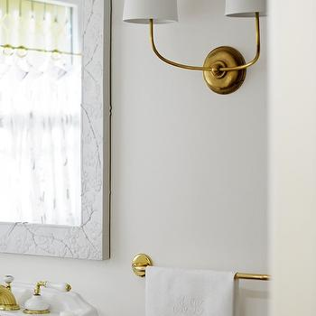 Ore Studios - bathrooms - marble and brass bathroom, white marble mirror, marble mirror, pedestal sink, brass fixtures, antique brass fixtures, brass faucet, antique brass faucet, brass double sconce, antique brass double sconce, brass towel bar, brass towel holder, antique brass towel bar, antique brass towel holder, monogrammed hand towel, white marble and brass bathroom, amazing bathrooms, , Vendome Double Sconce,