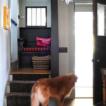 Ore Studios - entrances/foyers - staircase bench, built in bench, staircase landing, staircase landing bench, moravian star pendant,  Lovely