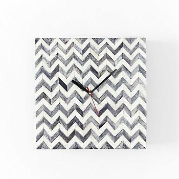 Art/Wall Decor - Parsons Wall Clock - Herringbone | west elm - herringbone bone inlaid wall clock, chevron bone inlaid wall clock, bone inlay wall clock, square bone inlay wall clock,