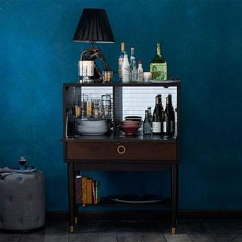 Storage Furniture - Dobson Flip-Down Bar | west elm - flip-down bar, bar cabinet, mid-century style bar cabinet, walnut bar cabinet, bar cabinet with mirrored back,