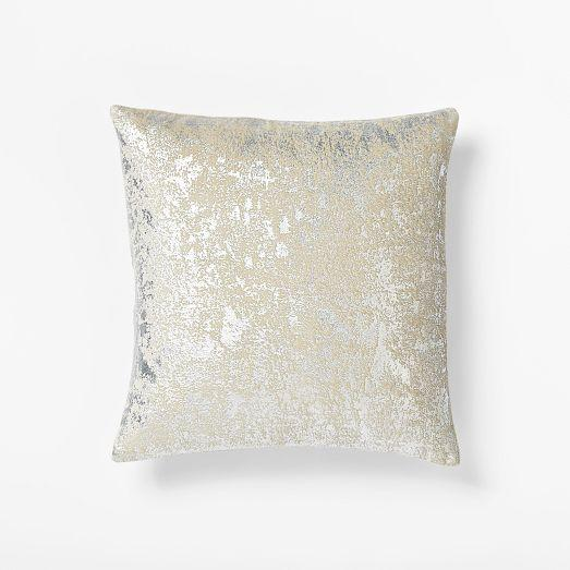 Metallic Texture Pillow Cover Silver West Elm