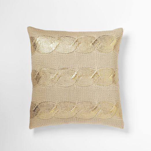 Gilded Cable Pillow Cover Gold West Elm