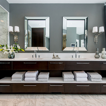 Dark Brown Double Vanity, Contemporary, bathroom, Atmosphere Interior Design