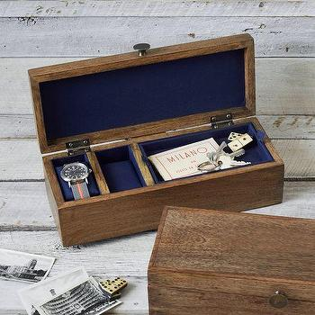 Decor/Accessories - Rustic Wood Watch Box | west elm - walnut wood watch box, walnut mens jewelry box, rustic wood watch box, wooden watch box, rustic watch storage,
