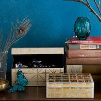 Decor/Accessories - Brushstroke Jewelry Box | west elm - gold foil patterned jewelry box, gold brushstroke patterned jewelry box, gold decoupage jewelry box,
