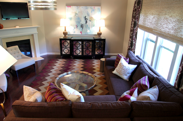 Purple and brown living room contemporary living room for Brown and purple living room ideas