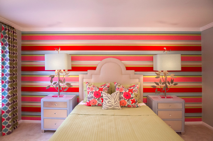 Striped Accent Wall - Contemporary - girl's room - Lucy and Company