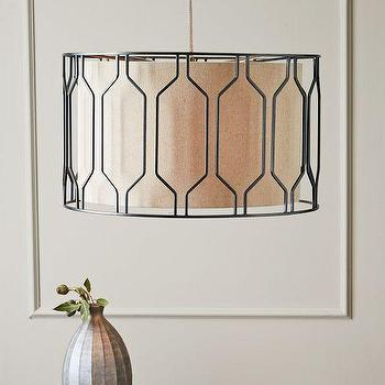 Lighting - Metal Honeycomb Drum Pendant | west elm - honeycomb patterned drum pendant, iron caged drum pendant, geometric iron caged drum pendant,