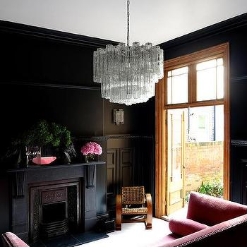 Pink and Black Living Room, Eclectic, living room, Farrow & Ball Off Black, 47 Park Avenue