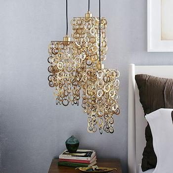 Lighting - Melissa Joy Manning 3-Light Pendant | west elm - brass chain link pendant, brass chain link 3 light pendant, satin brass 3 light pendant, tiered brass chain link 3 light pendant,