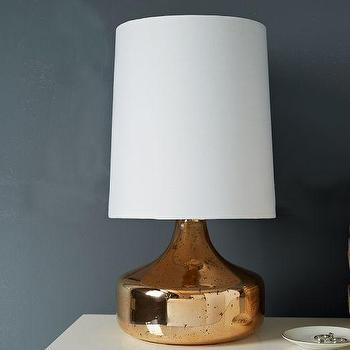 Lighting - Perch Table Lamp - Rose Gold | west elm - rose gold table lamp mid-century rose gold table lamp, rose gold glass table lamp, metallic mid-century style table lamp,
