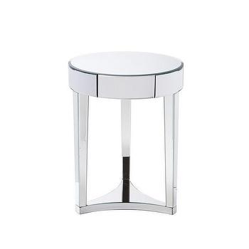Tables - Sierra Spy Mirror Side Table I The Cross Design - round mirrored side table, mirrored accent table, circular mirrored side table,