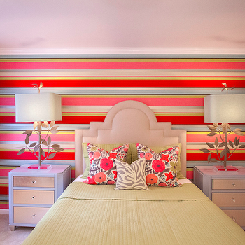 Lucy and Company - girl's rooms: colorful bedroom, striped accent wall, striped headboard wall, pink green white and blue striped headboard wall, multi-colored striped accent wall, multi-colored striped headboard wall, arched linen colored headboard, arched headboard, arched upholstered headboard, green coverlet, green bedding, green matelasse coverlet, green matelasse pillow sham, green pillow, floral pillow, multi-colored floral pillow, green and white zebra print pillow, zebra print pillow, matching nightstands, gray nightstand with metallic drawers, grey nightstand with metallic drawers, vine table lamp, branch table lamp, branch and leaf shaped table lamp, beige wall to wall carpeting, wall to wall carpet, beige carpet, floor length drapes, floor length curtains, multi-colored drapes, multi-colored curtains, multi-colored quatrefoil drapes, multi-colored quatrefoil curtains, Stray Dog Designs Ed and Annie Lamp, gray nightstands, gray lamps,