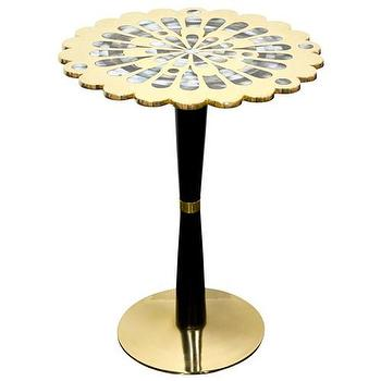 Tables - Jonathan Adler Kismet Side Table Large I Zinc Door - scalloped brass topped side table, scalloped brass side table with abalone inlay, modern brass topped table with abalone mosaic inlay, scalloped brass topped side table,