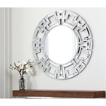 Mirrors - Abbyson Living Pierre Silver Round Wall Mirror | Overstock.com - silver greek key mirror, silver mirror framed round mirror, contemporary round mirror framed mirror, round geometric mirror framed mirror,
