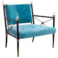 Seating - Jonathan Adler Rider Lounge Chair I Zinc Door - modern metal lounge chair with blue seat cushions, metal framed lounge chair with lucite trim and blue velvet seat, blue velvet chair with black metal frame,
