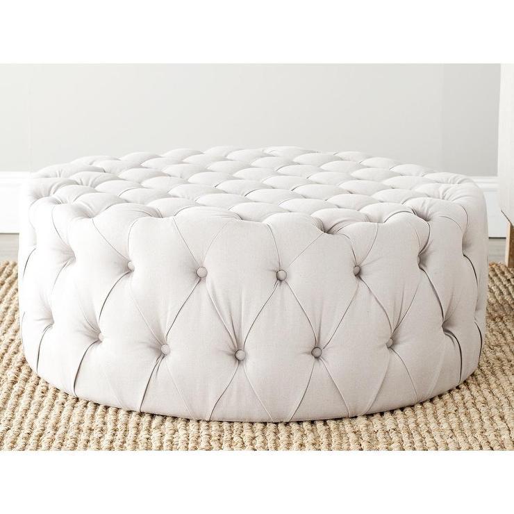 Charlene Taupe Linen Fabric Ottoman Overstockcom