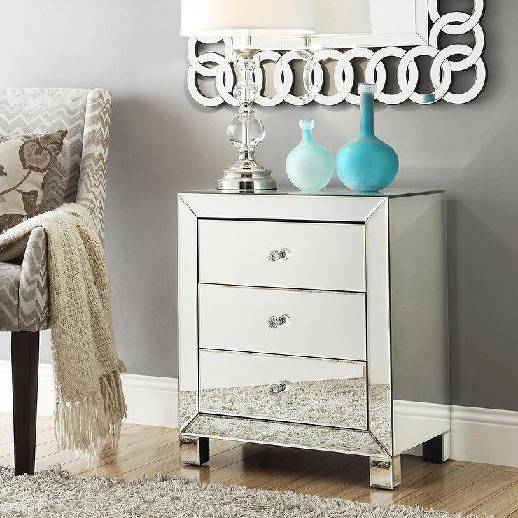 Nihoa Mirrored 3 drawer Accent Table Overstockcom
