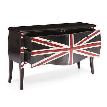 Large Black 'Union Jack' Distressed Cabinet, Overstock.com