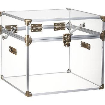 Storage Furniture - mod locker | CB2 - acrylic trunk, acrylic trunk with zinc trim, acrylic steamer style trunk,