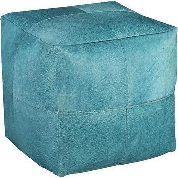 Seating - pony up aqua pouf | CB2 - aqua pouf, square aqua pouf, aqua calf hide pouf,
