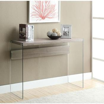 Tables - Dark Taupe Reclaimed-Look/Tempered Glass Sofa Table | Overstock.com - reclaimed wood look sofa table with glass sides, glass sofa table with reclaimed style top, glass sofa table with wood top,