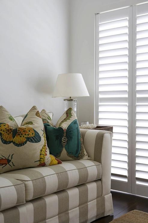 Striped Sofa Cottage Living Room Denai Kulcsar Interiors