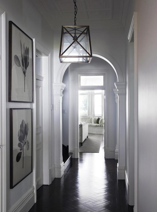 Parquet Wood Floors Transitional Entrance Foyer