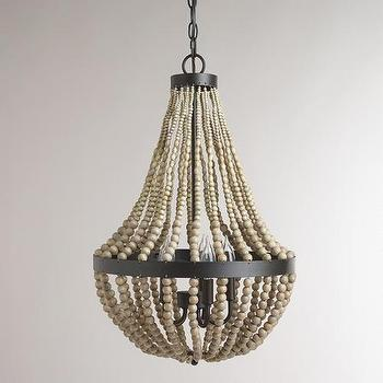 Lighting - Small Wood Bead Chandelier | World Market - wood bead chandelier, wooden beaded chandelier, beaded wood chandelier,