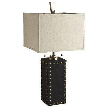 Lighting - Brass Stud Lamp I Pier One - modern table lamp with brass nailhead trim, mahogany finish table lamp with brass nailhead trim, brass naillhead trim lamp,