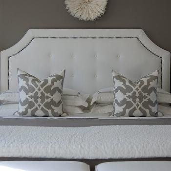 White and Gray Bedroom, Transitional, bedroom, Benjamin Moore Galveston Gray