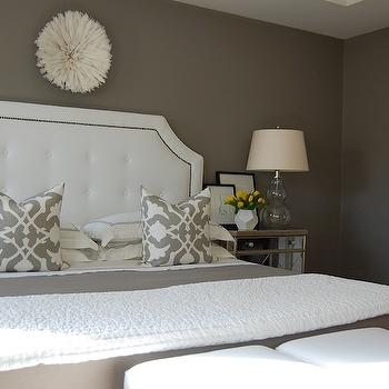 bedrooms - Benjamin Moore - Galveston Gray - white ottomans, cube ottomans, white cube ottomans, mirrored doors, bi fold doors, mirrored bi fold doors, rippled cotton coverlet, eileen fisher coverlet, white rippled coverlet, juju hat, white juju hat, pure white juju hat, gray walls, gray paint colors, bedroom with gray walls, bedroom with gray paint, galveston gray, warm gray paint colors, dark gray paint colors, restoration hardware bed, hotel bedding, target hotel bedding, hotel sheet set, target hotel sheet set, washed linen sheets, gray linen sheets, gray linen bedding, poetical linen pillow, mirrored nightstand, dwell studio vase, faceted vase, abstract nude, pottery barn frames, yellow and gray room, yellow and gray bedroom, gray bedroom, white tufted headboard, white headboard with nailhead trim, white and gray bedding, white and gray bedroom, rippled coverlet, white and gray pillows, eileen fisher bedding, gourd lamps, glass gourd lamps, clear glass gourd lamps, white and gray hotel bedding, white and gray hotel sheet set, mirror nightstands, white faceted vase, art over bed, art over headboard, bathroom with bi fold doors, gray flat sheet, gray linen flat sheet,